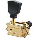 Schaller Machine Head G-Series Keystone SR Locking 3 left/ 3 right. Gold, Black Tulip buttons